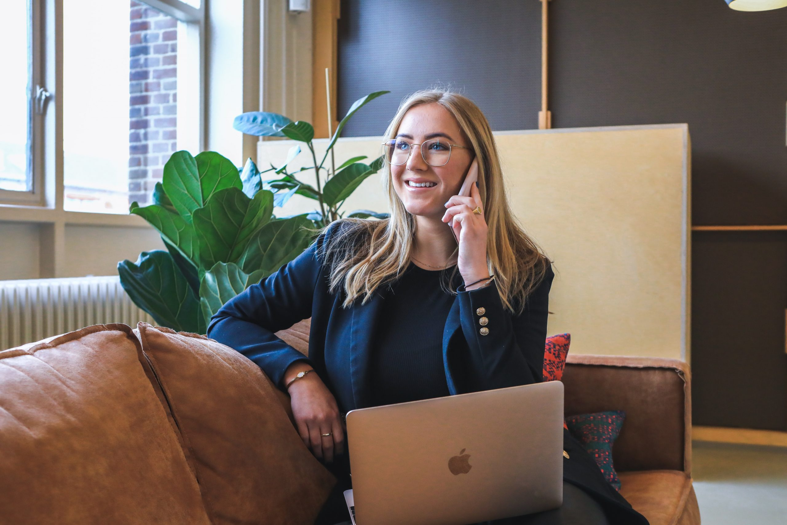 A business owner conducting a productive phone interview
